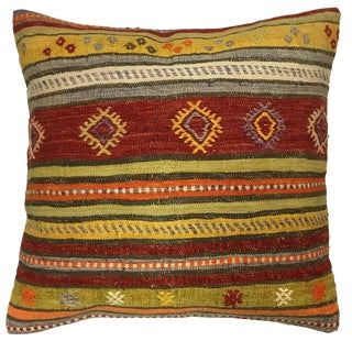 "Rug & Relic Rustic Stripe Kilim Pillow | 24"" For Sale"