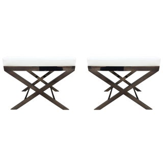 """Two """"X"""" Frame Benches by Charles Hollis Jones in Black Nickel, Signed and Dated For Sale"""