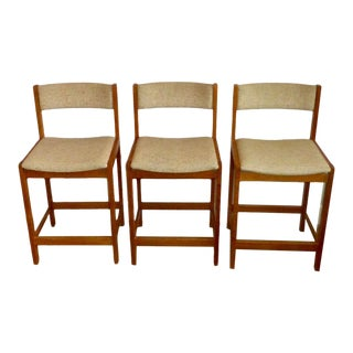 Mid-Century Danish Modern Teak D-Scan Counter Stools - Set of 3 For Sale