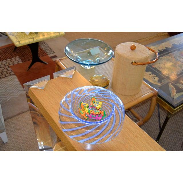 Tommaso Barbi Original Tommaso Barbi Italian Murano Clear & Blue Decorative Candy Dish Bowl For Sale - Image 4 of 11