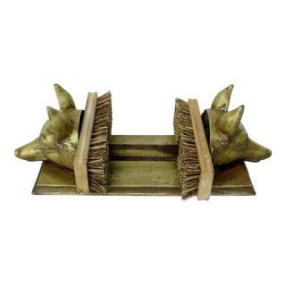 Bronze Fox Heads Boot Scraper For Sale