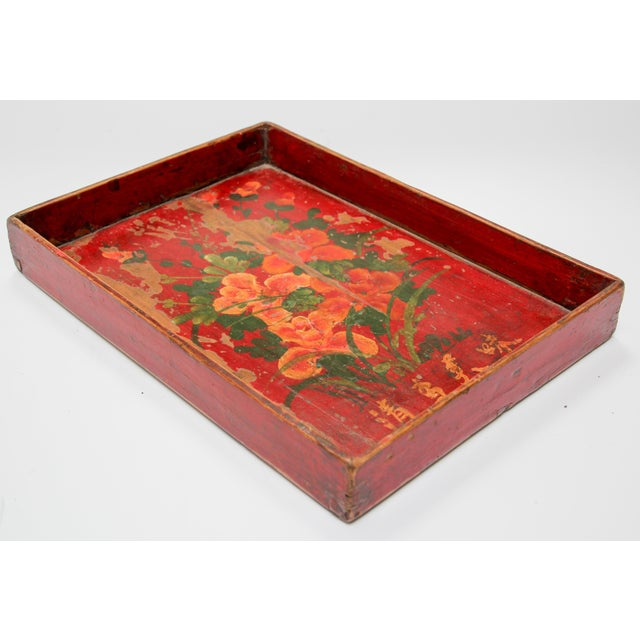 Asian Chinese Antique Red Hand Painted Wood Tray For Sale - Image 3 of 13