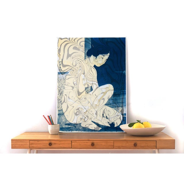 """Japanese """"Geisha in the Bath"""", Hashiguchi Goyo Inspired Japanese Cyanotype With Marbling on Watercolor Paper 2020 For Sale - Image 3 of 10"""