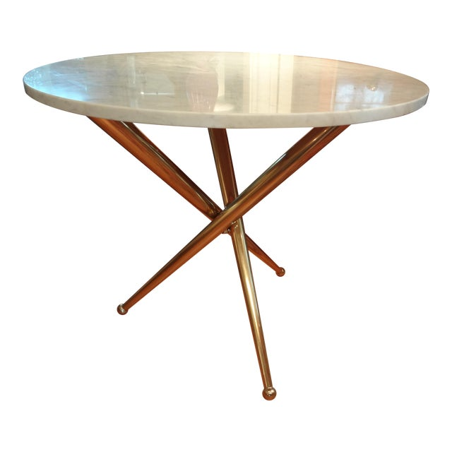 Italian Gio Ponti Inspired Brass and Marble Table - Image 1 of 8