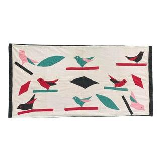 20th Century Folk Art Applique' Birds Pillow Sham, Mounted on Green Board For Sale