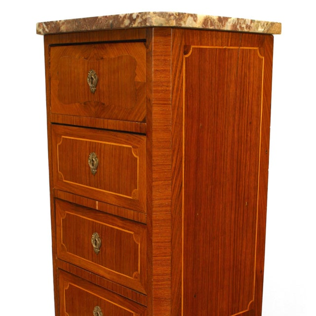 Traditional 19th C. French Inlaid Walnut and Marble Semanier For Sale - Image 3 of 5