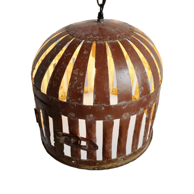 Industrial Iron Basket Cage Lantern For Sale - Image 4 of 5