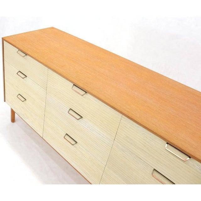 Two Tone Nine Drawer Cerused Oak Long Dresser Credenza by Mengel For Sale - Image 12 of 13