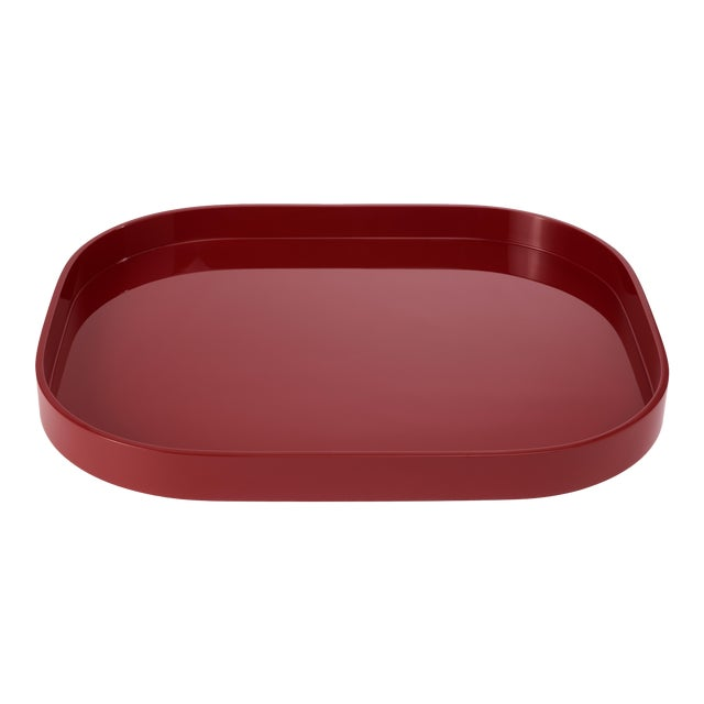 Miles Redd Collection Large Stacking Tray in Garnet Red For Sale