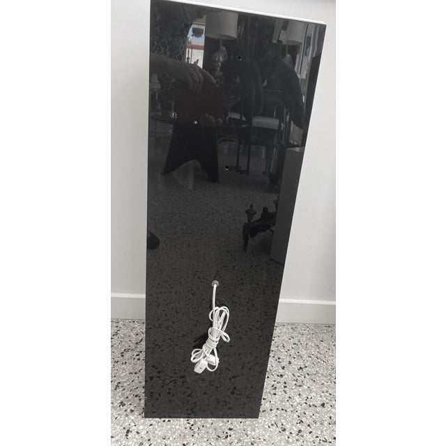Plastic Vintage Pedestal Illuminated Black and White Lucite For Sale - Image 7 of 12