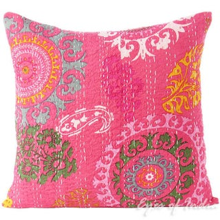 Pink Hand Block Kantha Throw Pillow For Sale