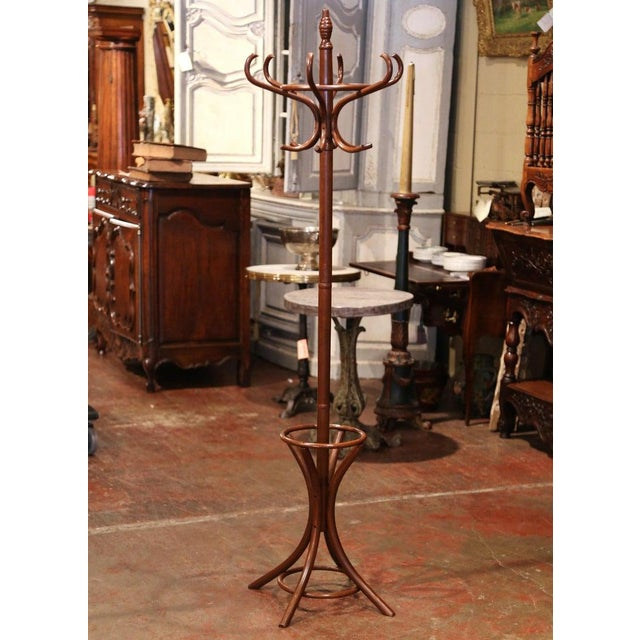 Wood Mid-20th Century French Bentwood Swivel Coat Stand or Hat Rack Thonet Style For Sale - Image 7 of 7