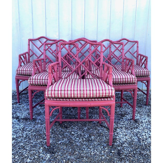 Hot Pink Faux Bamboo Chinese Chippendale Armchairs - Set of 6 For Sale - Image 13 of 13