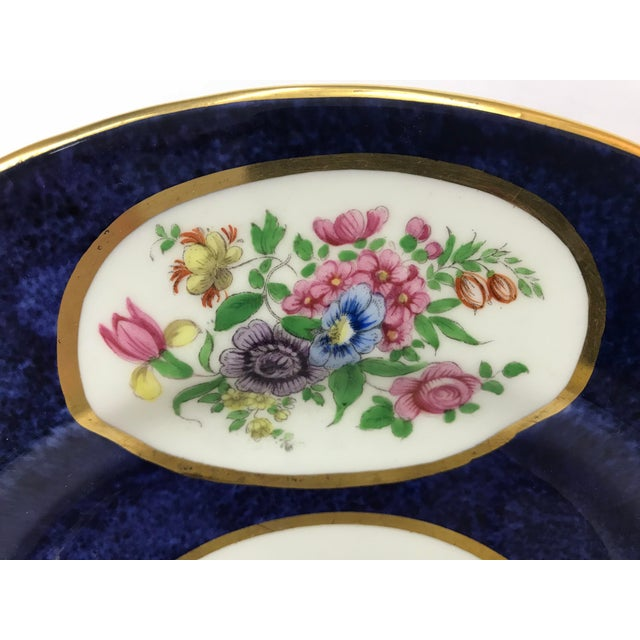 Crown Staffordshire Crown Staffordshire Cobalt Blue Hand Painted Flowers Dining Plates - Set of 12 For Sale - Image 4 of 7