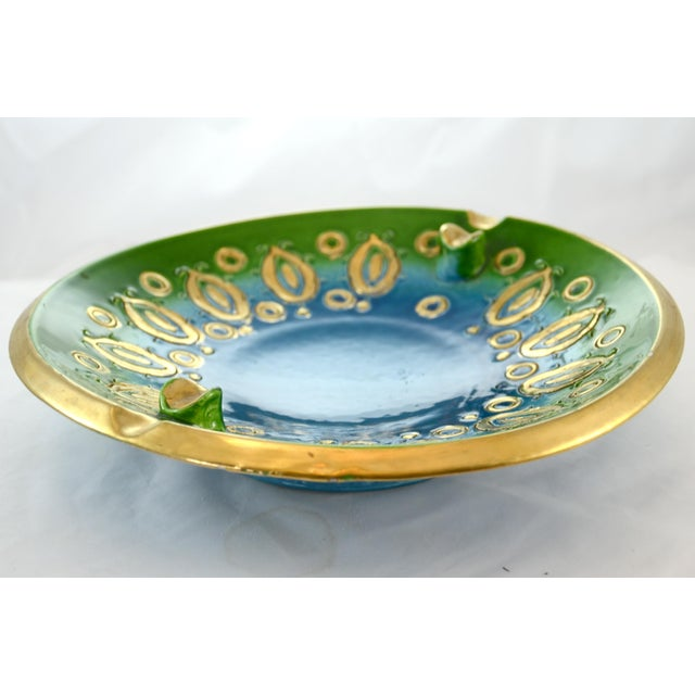 Large vintage midcentury Italian ceramic Bitossi bowl or catchall in a hand-painted teal, aqua, green and gold pattern...