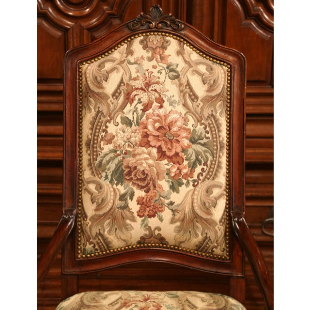 French Carved Walnut and Fruitwood Dining Chairs and Armchairs - Set of 8 For Sale - Image 4 of 13