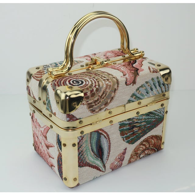 Hollywood Regency 1980's Lisette New York Seashell Tapestry Train Case Handbag For Sale - Image 3 of 12