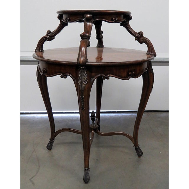 Maitland Smith Regency style burl walnut desert table with broze accents. Some surface scratches to the top from use.