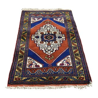 Turkish Vintage Hand Knotted Floral Yahyalı Anatolian Rug 2.8 X 4.7 Ft For Sale