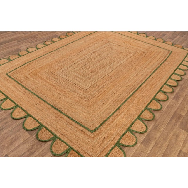 4'x6' Olive Green Scallop Jute Hand Made Rug For Sale - Image 6 of 10