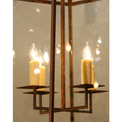 "Large Custom-Made, American Iron and Glass ""Seneca"" Lantern For Sale - Image 5 of 5"