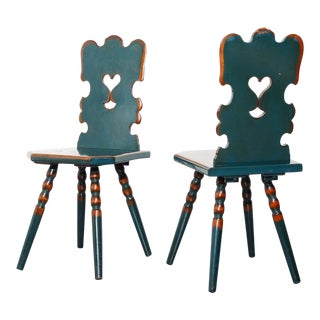 A Pair of Vintage Hall Chairs For Sale