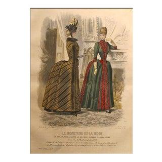 1885 Moniteur De La Mode, Parisian Ladies Fashion (Plate 46-1885) For Sale