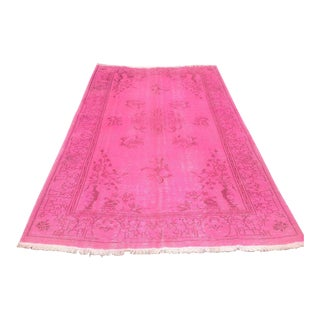 """Turkish Pink Overdyed Hand Knotted Rug -- 5'11"""" x 9'2"""""""