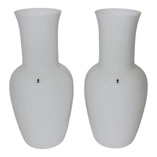 Vintage Venini Murano White Glass Vases - a Pair - Part of a Collection For Sale