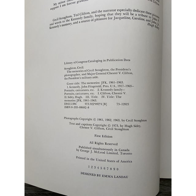 """1970s Vintage 1973 """"The Memories: Jfk, 1961-1963"""" 1st Edition Hardcover Book For Sale - Image 5 of 13"""