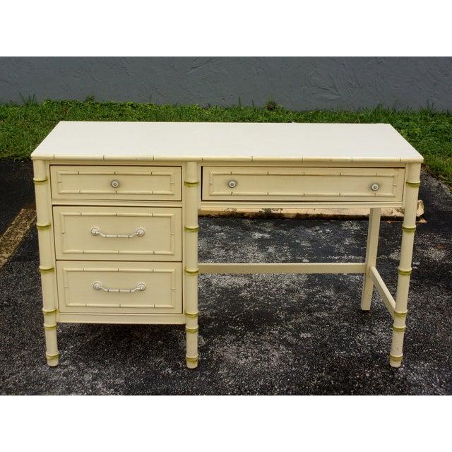 Mid-Century Bamboo Style Desk - Image 2 of 8