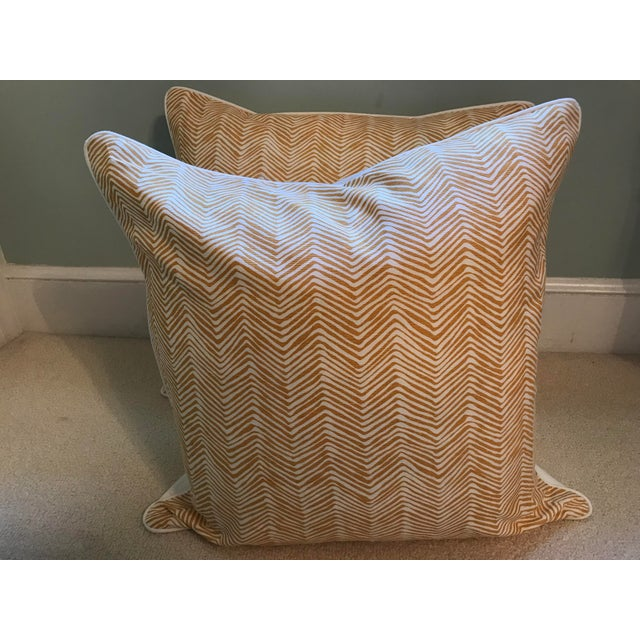 Cotton Quadrille China Seas Zig Zag Pillows - a Pair For Sale - Image 7 of 7