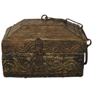 Antique Handmade Indian Carved Wood Money Box with Hardware, 19th Century