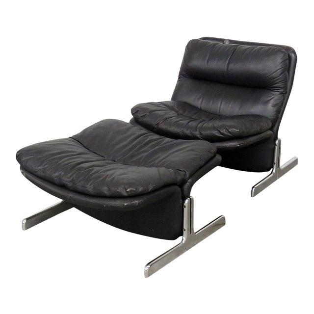 Ammanti & Vitelli Italian Leather Chair and Ottoman For Sale