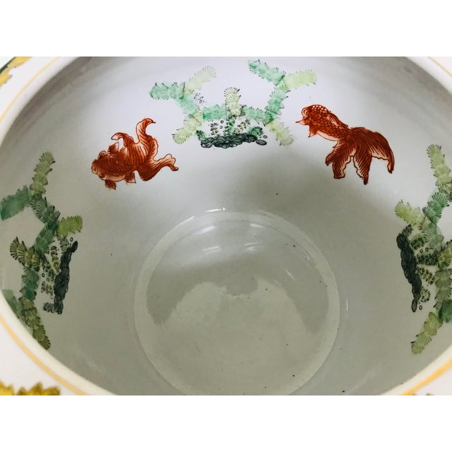 Ceramic Vintage Andrea by Sadek Chinoiserie Fish Bowl Ceramic Floor Planter Cachepot For Sale - Image 7 of 11