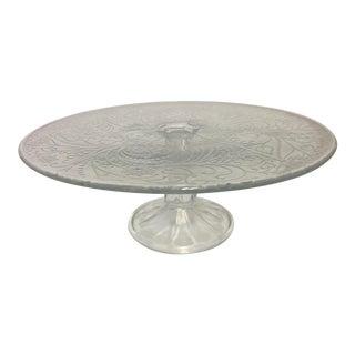 Mid Century Glass Cake Dish Stem Base For Sale