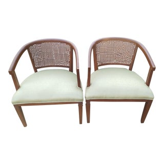 1950s Brrutalist Light Green Upholstered Barrel Cane Back Chairs - a Pair
