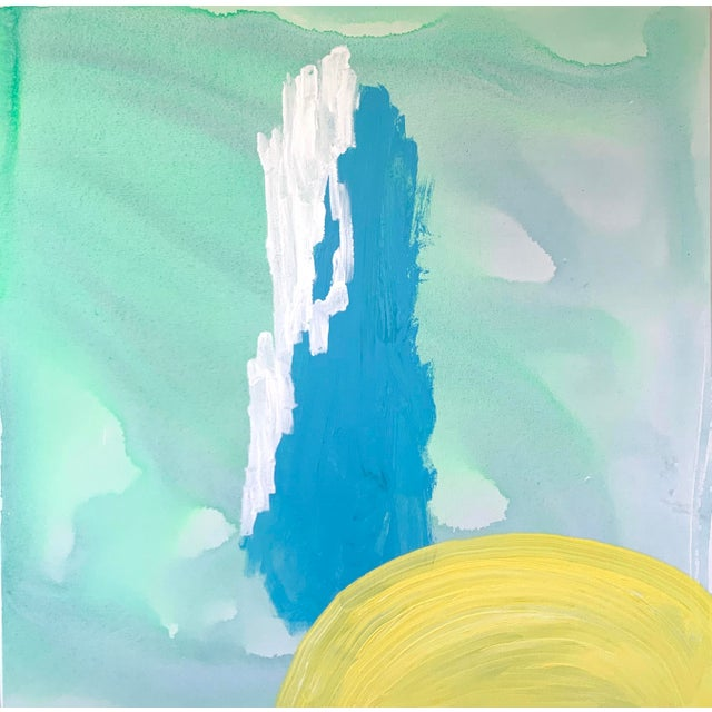 Blue and Yellow Landscape Painting by Matthew Izzo For Sale - Image 4 of 4