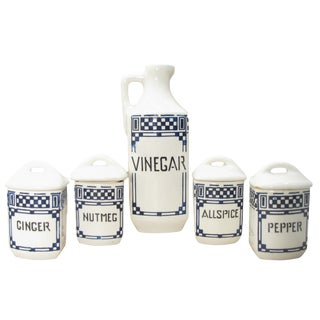 Blue & White Art Deco Cruet & Spice Jars, S/5 For Sale