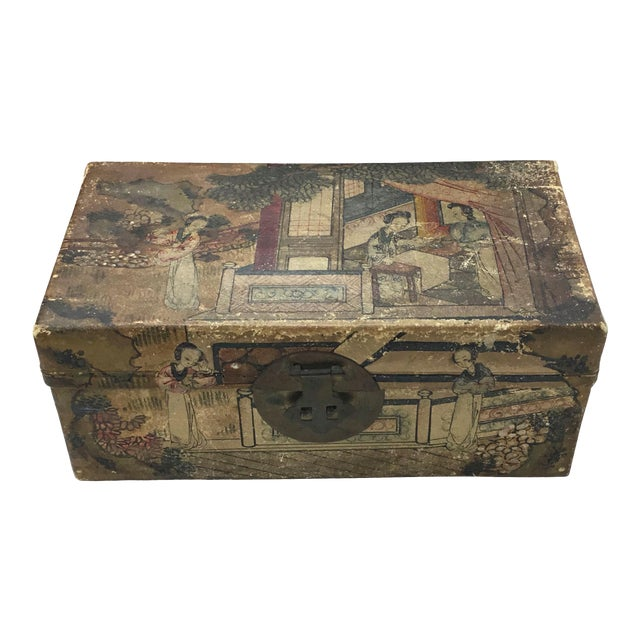 19th C. Asian Hand Painted Hide Box For Sale