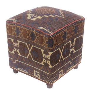Stacia Brown/Blue Antique Kilim Upholstered Handmade Ottoman