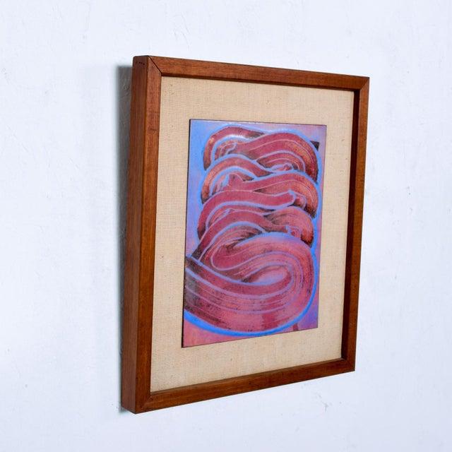 Mid Century Modern Abstract Enamel Art, Framed, Pedro Coronel Era For Sale - Image 4 of 7