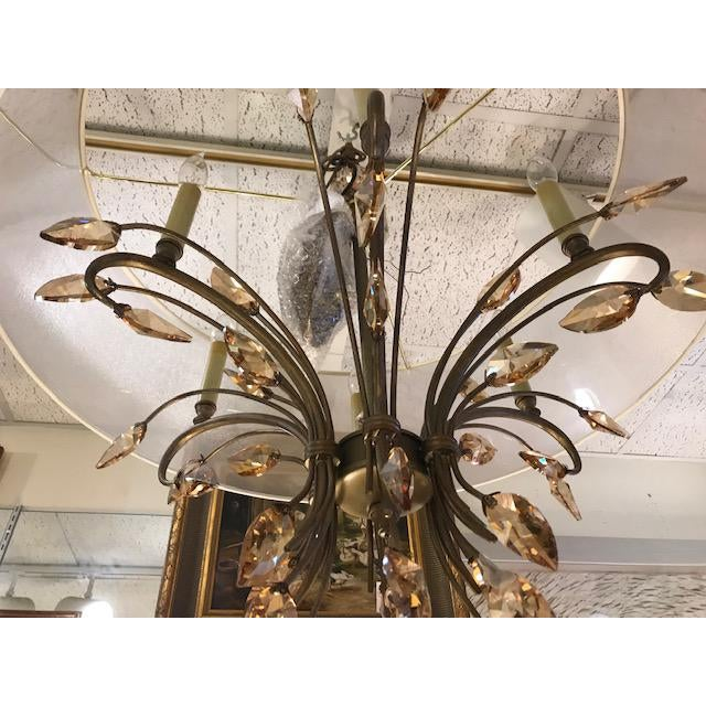Bronze Chandelier With Amber Crystals and a Transparent Shade For Sale - Image 4 of 5