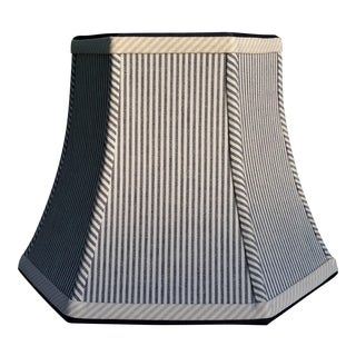 Lampshade Navy Blue and White Ticking Stripe Hexagon Bell Uno Lamp Shade For Sale