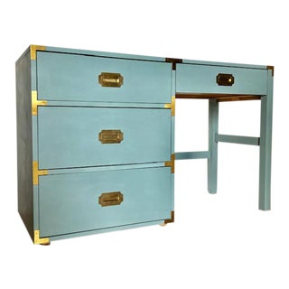 1980s Campaign Blue Writing Desk For Sale