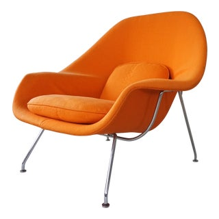 1960s Vintage Early Eero Saarinen Orange Womb Chair For Sale