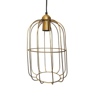 Brass Caged Dome Pendant Lights by Kalalou For Sale