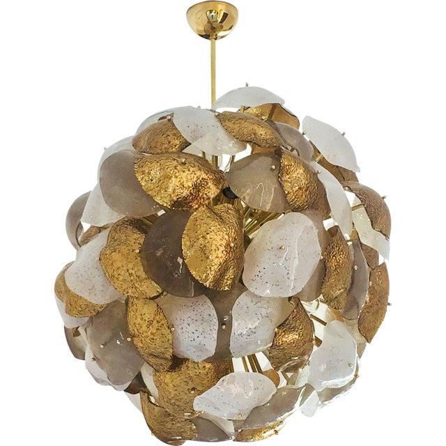 Modernist Italian Gold Silver White Scavo Murano Glass Round Leaf Chandelier For Sale