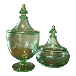 Green Depression Glass Etched Lidded Candy Bowls - a Pair For Sale