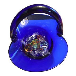 Vintage Murano Glass Candy Pieces and Basket - 6 Pieces For Sale